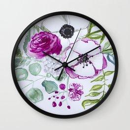 Pink peony, eucalyptus leaves, Watercolor Wall Art, Flowers illustration, orchid, hydrangea Wall Clock