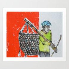 Seaweed Farmer - Island of Bali - Carrying the days Catch Art Print