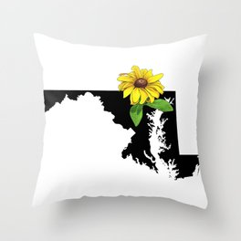 Maryland Silhouette and Flower Throw Pillow