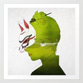 Fox Mask _side face Art Print