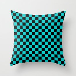 Black and Cyan Checkerboard Throw Pillow