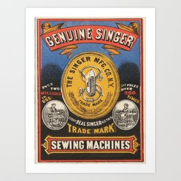 Vintage poster - Singer Sewing Machine Art Print
