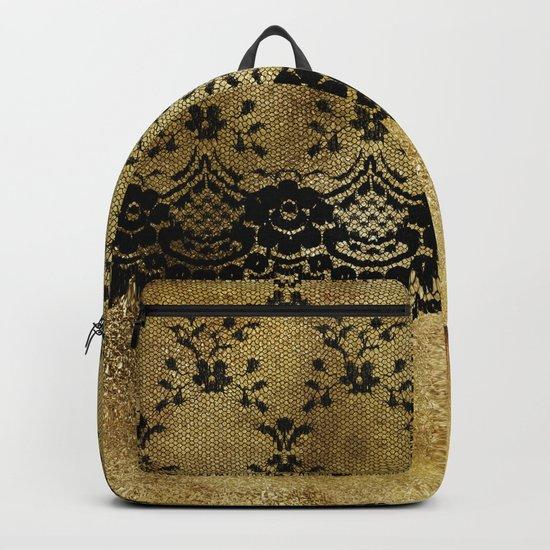 Black floral elegant lace on gold metal background- #Society6 Backpack