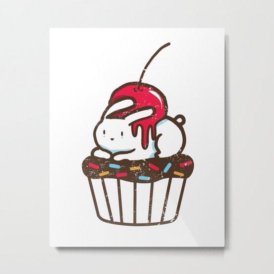 Chubby Bunny on a cupcake Metal Print