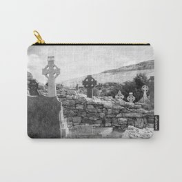 Halloween Graveyard | Horror | Black and White Cemetery | Gothic Graves | Carry-All Pouch