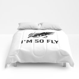 I'm So Fly Fishing Hook Flies Fisherman Gift Comforters
