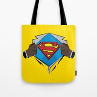superman Tote Bags featuring Superman  by Wave Sports