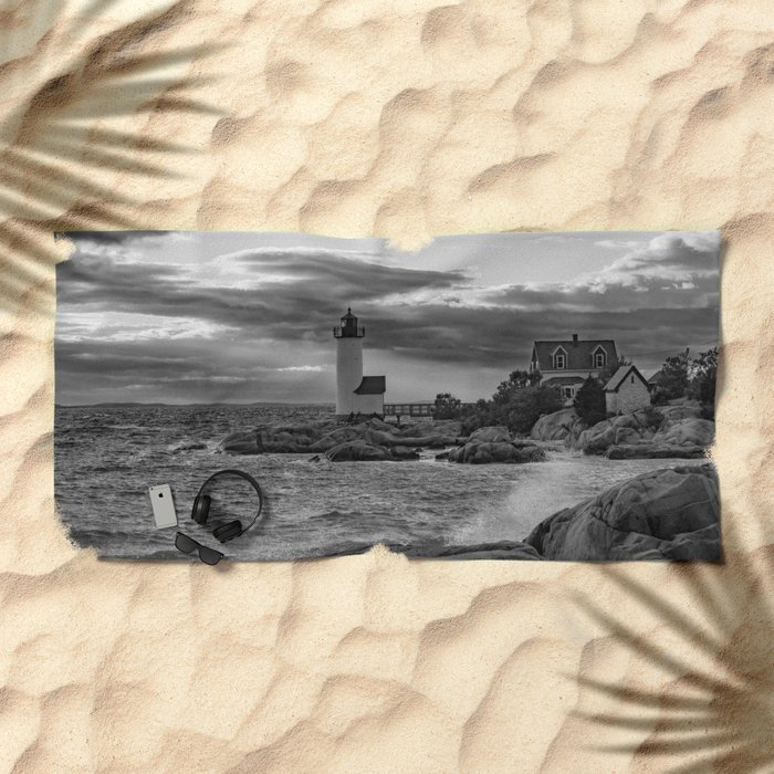 Annisquam Lighthouse Black and white Beach Towel