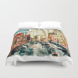 Winter in Chinatown - New York Duvet Cover