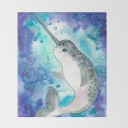 Baby narwhal Throw Blanket