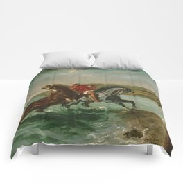 "Eugène Delacroix ""Horses Coming Out of the Sea"" Comforters"