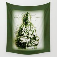 budi satria kwan Wall Tapestries featuring Antique Green Kwan Yin by Jan4insight