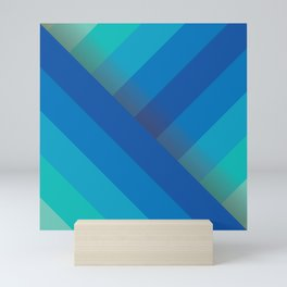 Stripes (blue/aqua) Mini Art Print