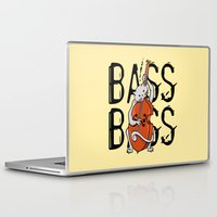 cello Laptop & iPad Skins featuring Cat Playing A Double Bass by mailboxdisco