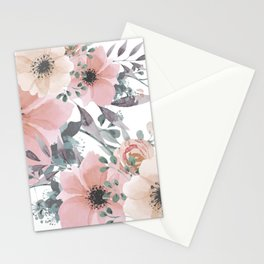 Watercolor, Blush Pink and Peach, Floral Prints Stationery Cards