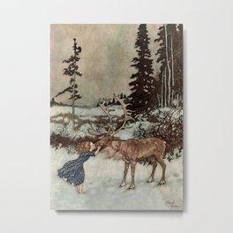 """""""Gerda Kisses The Reindeer"""" by Edmund Dulac Metal Print"""