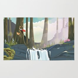 Yellowstone national park travel poster Rug