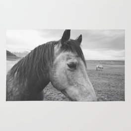 Horse Print in Black and White Rug