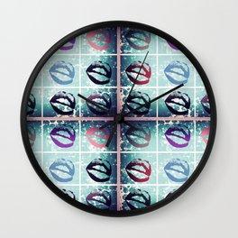 pop art kisses Wall Clock