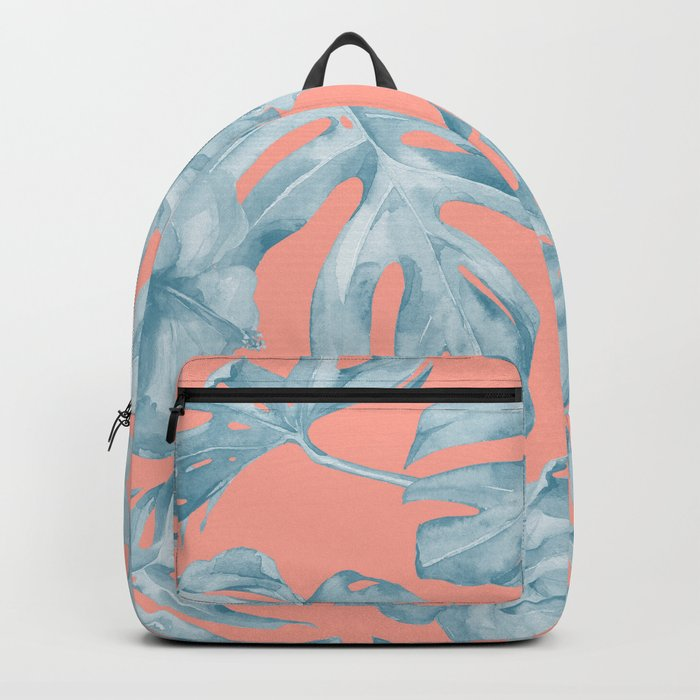 Island Life Pale Teal Blue on Coral Pink Backpack