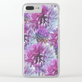 Neon pink lilac lavender watercolor hand painted flowers Clear iPhone Case
