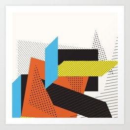 Memphis Throwback Retro 1980s 80s Trendy Hipster Bright Shapes Pattern Eighties Art Print