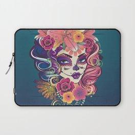 Sugar skull woman in flower crown portrait Laptop Sleeve