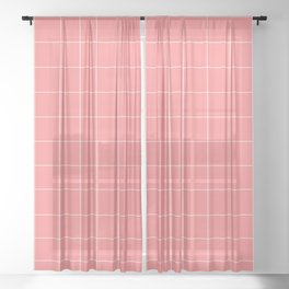 Abstraction_LINES_CORAL_Minimalism_001 Sheer Curtain