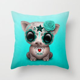 Blue Day of the Dead Sugar Skull Baby Pig Throw Pillow