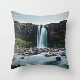Seydisfjordur Waterfall Throw Pillow
