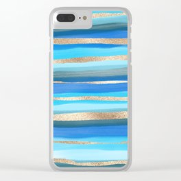 Artsy Ocean Aqua Blue Gold Abstract Paint Stripes Clear iPhone Case