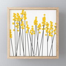 Hello Spring! Yellow/Black Retro Plants on White #decor #society6 #buyart Framed Mini Art Print