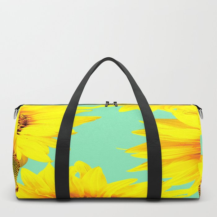 Sunflowers on a pastel green backgrond - #Society6 #buyart Duffle Bag