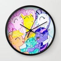 my little pony Wall Clocks featuring My Little Pony by Maranda Rae
