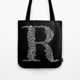 Cherry Blossom R Black Tote Bag