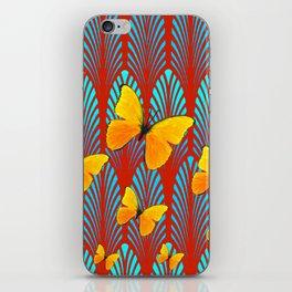 YELLOW ART DECO BUTTERFLIES & CUMIN COLOR ART iPhone Skin