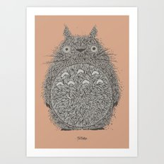 Peach Totoro Art Print