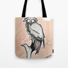 Owl on the branch with a full moon Tote Bag