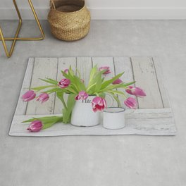 pink spring tulip still life country style Rug