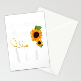 Womens My Favorite Nurse Calls Me Nini Sunflower Stationery Cards