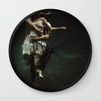 large Wall Clocks featuring abyss of the disheartened : V by Heather Landis