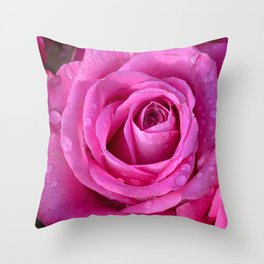 Pink rose close up with raindrops Throw Pillow