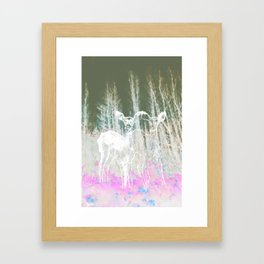 Deer in the headlights Framed Art Print