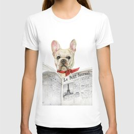 French bulldog with newspaper, bonjour T-shirt