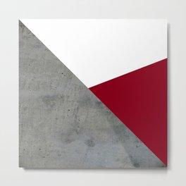 Concrete Burgundy Red White Metal Print