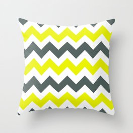 Chevron Pattern In Limelight Yellow Grey and White Throw Pillow