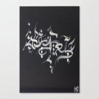 calligraphy Canvas Prints featuring Calligraphy 26 by Nirina Ralantoaritsimba