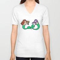 mermaids V-neck T-shirts featuring Mermaids by Stella Vee