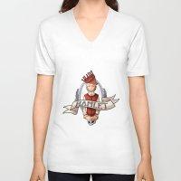 hamlet V-neck T-shirts featuring Hamlet by Michelle Dadoun