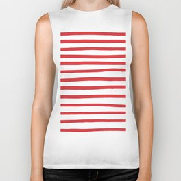 Red hand drawn stripes Biker Tank